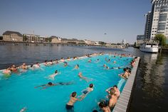 For a fun day, check out Badeschiff, a public swimming pool and beach bar situated right in the river!