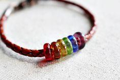 Rainbow Recycled Glass Bead Leather Beaded by LittleBitsOFaith