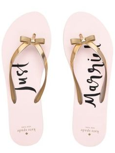 "these simple sandals, whose soles proclaim your ""just married"" status, will help you feel as bridal as you did on your big day, through the honeymoon and beyond."