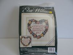Elsa Williams Needlepoint Kit - Love Letters - Heart Wreath Flowers - Nancy A Bombard Design - Wreath of Flowers - Picture or Pillow by SecondWindShop on Etsy