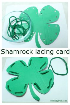 Today's post is about a lacing activity which is a Montessori inspired idea.Patrick's day Shamrock lacing activity can be customized for any shapes.Patrick's day Shamrock lacing activity! Montessori Practical Life, Montessori Activities, Toddler Activities, Preschool Activities, Montessori Elementary, Montessori Toddler, Saint Patricks Day Art, St Patricks Day Crafts For Kids, St Patrick's Day Crafts