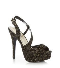 Kelly Brook Black Strappy Glitter Peeptoe Heels New Look £29.99 - great for adding a touch of sparkle to your Christmas party outfit
