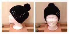Mütze mit Pommel & Strasssteinchen in Schwarz Basket Weaving, Beanie, Hats, Weaving, Round Round, Black, Hat, Beanies, Beret