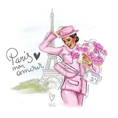 Travel Illustration, Illustration Artists, Illustrations, Desserts Drawing, Chanel Art, Canvas Art Quotes, Cute Girl Drawing, Girly Drawings, Pink Themes