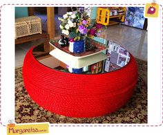Resultado de imagen para tire table with rope and feet Tire Furniture, Recycled Furniture, Tire Table, Tire Ottoman, Home Crafts, Diy Home Decor, Tire Craft, Tyres Recycle, Recycled Tires