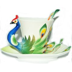 Art Porcelain Ceramic Tea Cup Coffee Mug Peacock Set with Saucer Spoon+ Gift Box
