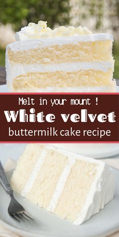 White Velvet Buttermilk Cake Recipe White velvet cake gets it's flavor and velve. - White Velvet Buttermilk Cake Recipe White velvet cake gets it's flavor and velve…, - Just Desserts, Delicious Desserts, Baking Recipes, Cookie Recipes, Easy Recipes, White Velvet Cakes, Red Velvet, Round Cakes, Savoury Cake