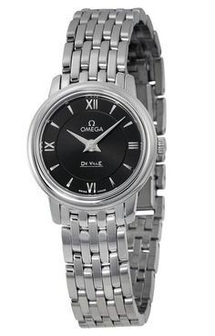 Replica Omega De Ville Prestige Black Dial Stainless Steel Ladies Watch 424.10.24.60.01.001 Stainless Steel Bracelet, Stainless Steel Case, Black Face Watch, Roman Numerals, The Prestige, Casio Watch, Fashion Watches, Omega Watch, Bracelet Watch