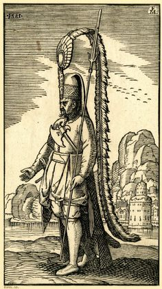 Full: Front A Janissary (Yeniceri); WL figure, turned to l; wearing the kece with a very long feather; holding a lance; an axe tucked into his belt; from a series of 127 woodcuts. 1581 Woodcut © The Trustees of the British Museum British Museum, Empire Ottoman, Turkish Military, Ottoman Turks, Landscape Background, Drawing Exercises, Islam, Gay Art, Book Illustration