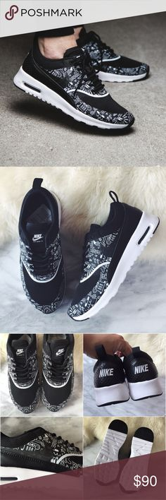 Nike Black + White Printed Air Max Thea Sneakers •The Nike Air Max Thea Women's Shoe is equipped with premium lightweight cushioning and a sleek, low-cut profile for lasting comfort and understated style.  •Women's size 7, runs narrow.  •Sample from Nike HQ  •NO TRADES/PAYPAL/MERC/HOLDS/NONSENSE. Nike Shoes Sneakers