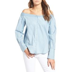 Women's Dl1961 East Hampton Off The Shoulder Blouse ($158) ❤ liked on Polyvore featuring tops, blouses, mid wash, summer blouses, off shoulder tops, summer tops, off shoulder blouse and chambray top