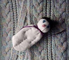 Lavender Filled Sachet Handmade Sock Doll OOAK White w/Black Hat Blue Gem Eyes #Pedricks