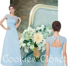 KATIE Baby Blue Lace Full Length Maxi Prom Evening Bridesmaid Dress UK 6 - 18