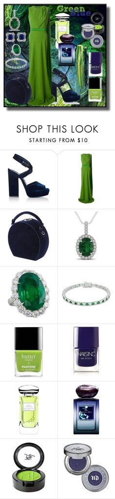 """Green and blue!"" by kelly-floramoon-legg ❤ liked on Polyvore featuring Yves Saint Laurent, Alexander McQueen, Bertoni, Allurez, Diana M. Jewels, Kate Bissett, Nails Inc., By Terry, Giorgio Armani and Beauty Is Life"