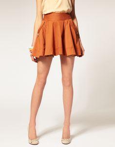orange skirt with pockets