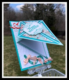 ~For The Love of Stamping~: Kite Card – Birthday Card - Modern 3d Cards, Cool Cards, Easel Cards, Cards Diy, Fancy Fold Cards, Folded Cards, Kids Birthday Cards, Card Birthday, Scrapbook Birthday Cards