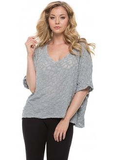 A Postcard From Brighton Berlinda Burn Out Melange Short Sleeved Top In Piano Grey