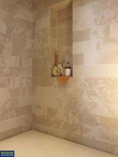 Natural stone in shower douchewand in natuursteenstrips www.beltrami.be