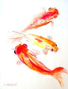 Koi Fish, Original large watercolor painting, 24 X 18 in, asian style fish art