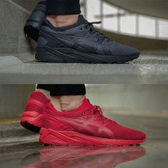 "Instagram의 Sneaker Freaker G/S/A님: ""The Asics Gel Kayano Evo ""Tech Pack"" is now available at @afewstore who sent us this pic! #asics #kayano #evo #techpack #allred #allblack"""
