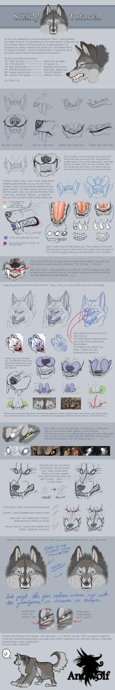 Snarling wolf tutorial by Anuwolf via deviantart.