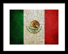 Aged Framed Print featuring the digital art Grunge Mexico Flag by Steve Ball