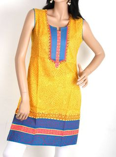 Mango Yellow with Blue Colored Printed Cotton Top with Sleeve @ Rs. 1120 http://www.shreedevitextile.com/women/kurti/shreedevi-kurti/shree-devi/mango-yellow-colored-top-zola-157646