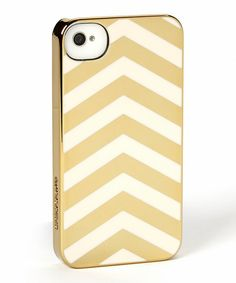 Gold Chrome & Cream Chevron Snap-On Case for iPhone 4/4s