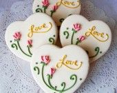Heart shaped love cookies with pink roses...so pretty for a bridal tea.