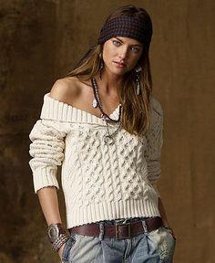 Denim & Supply Ralph Lauren Sweater, Long Sleeve Cable Knit Shawl Collar - Sweaters - Women - Macy's | Street Fashion