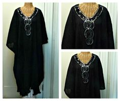 Black Sequin Caftan / Boho Chic Dress / Midi or Maxi / Long Kaftan / Metallic Swimsuit Cover Up / Womens Beach Spa One Size Cotton Halloween by SavoyFaireSpa on Etsy