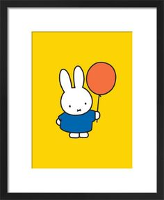Miffy and Balloon Art Print by Dick Bruna at King & McGaw Art Deco Print, Framed Art Prints, Poster Prints, Framing Canvas Art, Golden Birthday, Miffy, Kids Poster, Kid Character, Picture Frames