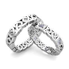 Matching Celtic Wedding Bands in 14k Gold Princess Cut Diamond Eternity Ring…