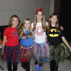 #teen #Girl  #Tween girl power costume idea DIY easy group costume girly superheroes Iron On for T-Shirts, Tulle for tutus, black tights. #goodncrazy.com