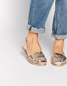 Miss KG metallic leather woven flat shoes