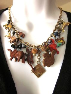 Vintage Animal Charm Necklace Noah's Ark by JeepersKeepers on Etsy