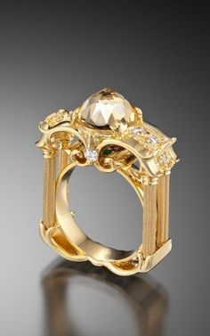 Image result for 10ct yellow gold white topaz rectangle ring