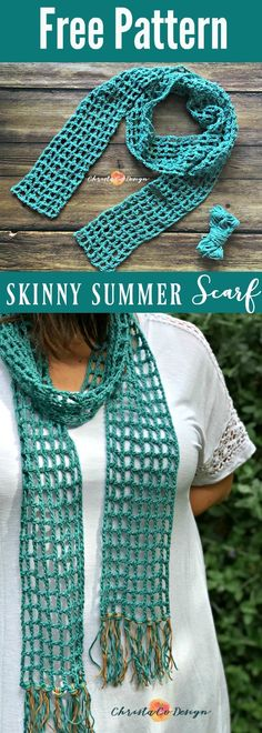 Crochet Patterns Blusas Skinny Summer Scarf Free Crochet Pattern – ChristaCoDesign - Skinny scarfs are for summer! This free crochet scarf pattern is easy and quick. Add a stylish splash of color to your summer wardrobe. Poncho Au Crochet, Crochet Scarf Easy, Bonnet Crochet, Crochet Simple, Crochet Beanie, Crochet Stitches, Crochet Cowls, Easy Crochet Headbands, Crocheted Scarf