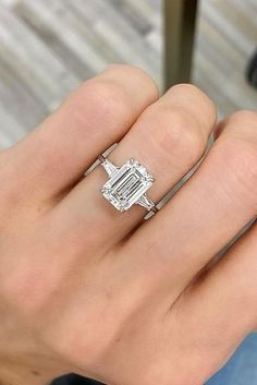 Engagement Ring That Was Created For A Special Bride ★ engagement ring emerald cut diamond solitaire Emerald Cut Diamond Engagement Ring, Emerald Cut Rings, Dream Engagement Rings, Vintage Engagement Rings, Wedding Ring Emerald Cut, Blue Sapphire Rings, Diamond Solitaire Rings, Opal Rings, Solitaire Engagement