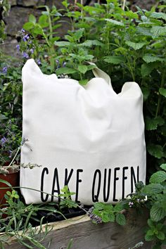 Cake Queen cotton tote bag hen party bag American by MONOFACES