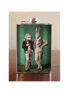 Hedgehog & Rabbit flask - stainless steel - 8 oz.. $26.00, via Etsy.