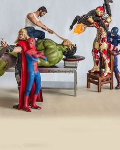 """Here's an incredibly fun set of photos that giveus a glimpse at what some  of our favorite superheroes are doing when they aren't out saving the  world. According to photographerEdy Hardjo, they just like to cause all  kinds of hijinks! As you'll see, he gets really playful with these Hot Toys  action figures,and the outcome of thephotosis magically marvelous. I  also threw a couple in there that feature Mr. Bean.  Hardjo explained his craft in an interview withShutterbug saying,""""I…"""