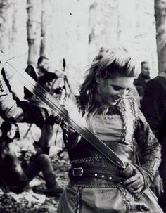 "Lagertha from the TV show, Vikings.  First season struggled to find its ""land legs,"" but enjoying second season immensely. Rare to find such a good balance of historical accuracy with creative license in production values; even more rare with medieval period shows."