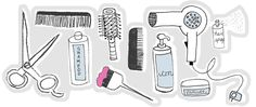 cute drawing of hairdressing tools.