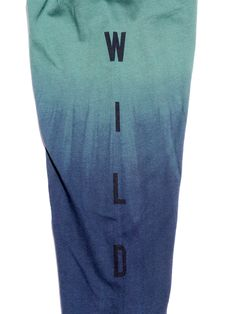 """Up a Creek Dip-Dye"" A bear in a canoe. Graphic strategically placed to ""float"" on the dip dyed navy lower half. Graphics are printed on both sleeves reading ""STAY"" on the right sleeve and ""WILD"" on the left sleeve."