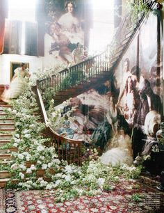 Blow Up - Sophia Tonge; Franz Xaver Winterhalter The Empress Eugénie Surrounded by Her Ladies in Waiting - April 2011 - W Magazine - Tim Walker Photography Editorial Photography, Art Photography, Fashion Photography, Glamour Photography, Lifestyle Photography, Photography Flowers, Conceptual Photography, Creative Photography, Chateau De Gudanes