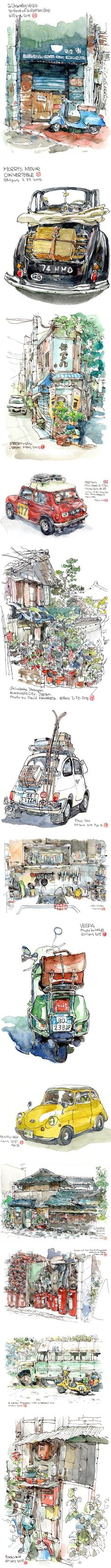Mars Huang (B6 Drawing Man), watercolor and ink sketches
