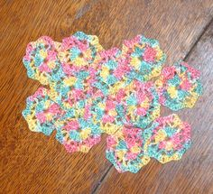 Mini Flower appliques teal pink and yellow