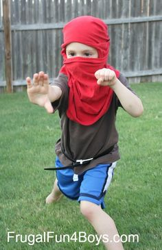 How to Turn a T-Shirt into a Ninja Mask {With no cutting or sewing!} - Frugal Fun For Boys . for tripp and traiven Cabin Activities, Preschool Christmas Activities, Activities For Kids, Projects For Kids, Diy For Kids, Cool Kids, Project Ideas, Diy Projects, Craft Ideas