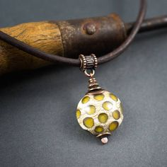 Rustic Lampwork Necklace  Artisan Glass Pendant  Brown
